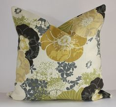 Nouveau Floral Pillow Cover / 16x16 / Grey by DecidedlyChic, $25.00