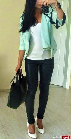 Mint Jacket Blazer| Black Leather Tights| Big Bags