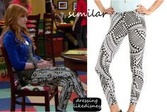 """Bella Thorne as Cece Jones wears these Black and White Aztec Legging similar to these Charlotte Russe Aztec Cotton Spandex Leggins, in this weeks episode of Shake it Up, """"Opposites Attract it Up""""."""