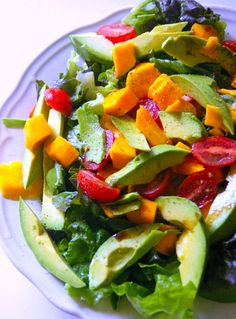 Caribbean Salad Recipe. YOU know me by now--add rinsed and drained canned chickpeas to boost the protein content of this salad!  Or any other bean of your choice.