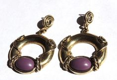 Etruscan Style Pierced Dangle Earrings Purple 1928 Designer Vintage Jewelry