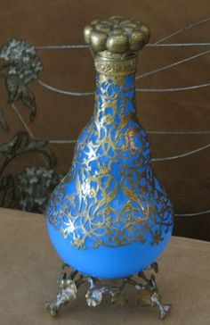 Opulent French Blue Opaline Art Glass Bottle Gold Gilt Girdle and Ornate Base | eBay