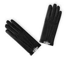 Dog Hermes women's gloves in glossy black lambskin with silk lining, finishings in ruthenium. Size 6.5.