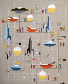 made in the sixties Retro Kunst, Retro Art, Mid Century Art, Mid Century Modern Design, Retro Illustration, Illustrations, Atomic Age, Retro Futuristic, Googie