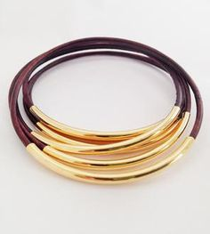 Brown Leather Bangles made by Leather Wraps