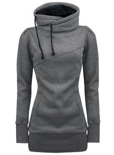 new styles f4804 a2317 Grey Drawstring High Neck Sweatshirt