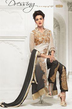 Off White And Grey Color Designer Salwar Kameez