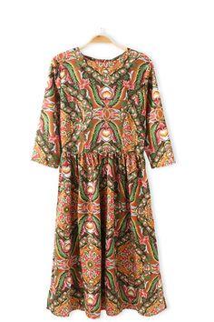 Baroque Printed Chiffon High Waist Vintage Dress