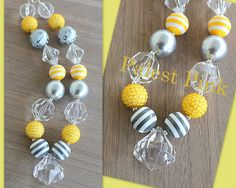 Gray and Yellow stripe chunky little girls necklace by PalestPink on etsy.com