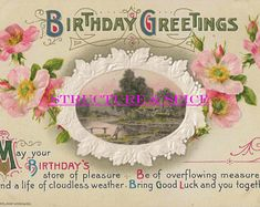 Antique Birthday Greetings Postcard With Pink Tea Roses Surrounding an Oval Window Framing a Quiet Country Cottage. This Card is Circa - Edit Listing - Etsy Birthday Roses, It's Your Birthday, Happy Birthday, Vintage Birthday Cards, Tea Roses, Birthday Greetings, Vintage Postcards, Birthdays, Window