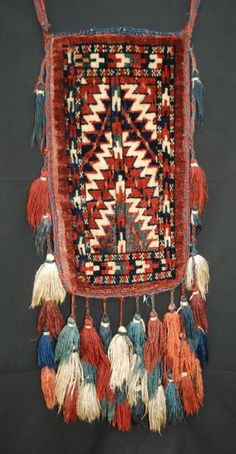 Igsalik (Spindle-Bag), Yomut Turkmen, Central Asia / spindle-bag (igsalik) was made for the sole purpose of containing spindles / dates to the last quarter of the 19th century / made by Yomut Turkmen tribe in the trans-Caspian Steppes.