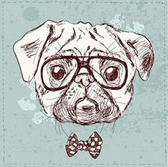 Cão de pug hipster com óculos — Vetor de Stock © iriskana #36831361