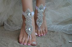 İvory lace.Barefoot Sandals french lace Nude shoes by UnionTouch