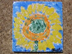 Van Gogh Sunflower tile painting - one of my favorite art projects with kids.