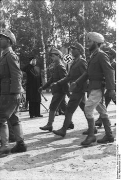 Chandra Bose reviewing his Azad Hind Waffen-SS volunteers. Circa 1942.