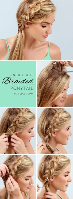 Inside-Out Braided Ponytail - 11 Runway-Ready Ponytail Tutorials for Every Occasion | GleamItUp