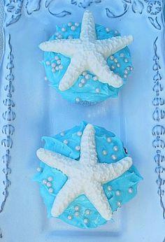 Sugar starfish beach wedding cupcakes, pale blue beach wedding desserts #2014 Valentines Day gift www.dreamyweddingideas.com