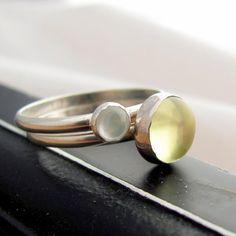 Lemon Quartz and Mother Of Pearl Ring