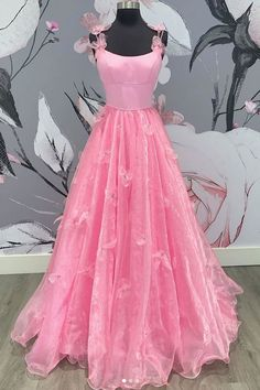pink sleeveless a-line tulle satin school event dress applique spaghetti-straps long prom dresses pink sleeveless a-line tulle satin school event dress appli – shinydress Satin Tulle, Pink Tulle, Tulle Dress, Pink Dress, Senior Prom Dresses, Pageant Dresses, Dress Prom, Prom Gowns, Wedding Dress
