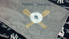 Personalized Yankees Baseball Fleece and Minky by TreasuredMinky