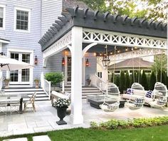 Pergola, once popular in Italian Renaissance, are an admirable let-up from heat during burning summer. To talk about the construction, pergola is not as complicated as it sounds. Backyard Patio Designs, Backyard Pergola, Backyard Landscaping, Patio Ideas, Outdoor Pergola, Pergola Designs, Pergola Plans, Pergola Ideas, Porch Ideas