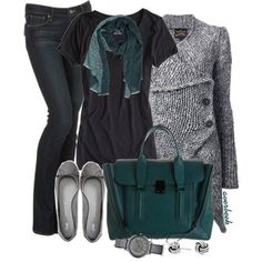 Love the gray, black & teal green together! Cute!