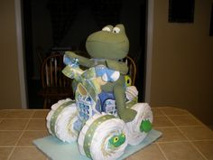 Frog and Turtle diaper cake we made for Mandi's baby shower!