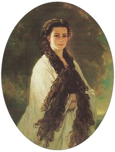 """Portrait of Elisabeth depicting her long hair (by Franz Xaver Winterhalter, 1864), one of two so-called """"intimate"""" portraits of the empress; although its existence was kept a secret from the general public, it was the emperor's favourite portrait of her and kept opposite his desk in his private study"""