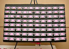 Seating card display - damask and pink
