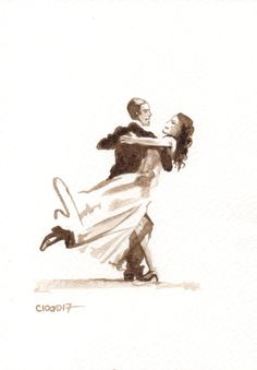 Original love card > Fred Astaire and Rita Hayworth - Unique Sketch to frame…