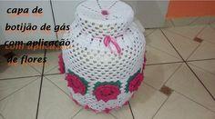 Jogo de cozinha - Capa de botijão de gás com aplicação de flores