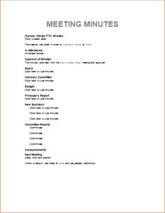 pto meeting minutes template