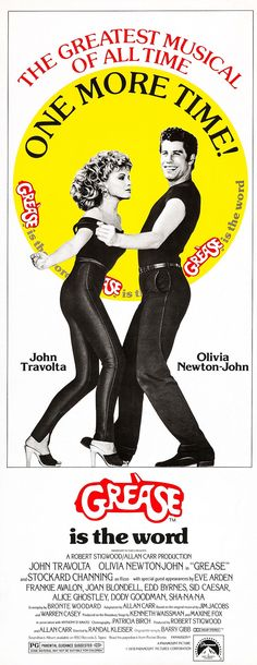 Grease (1978) starring John Travolta & Oliva Newton-John — March 1998 Theatrical Re-release Poster