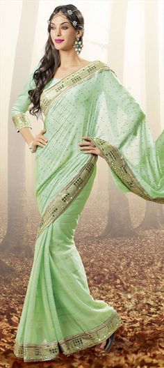 709843 Green  color family Embroidered Sarees, Party Wear Sarees in Faux Chiffon fabric with Lace, Printed work   with matching unstitched blouse.
