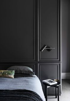 Strict modern design in old arched house in Australia interior design Home decor idea inspiration cozy style dark bedroom modern classic wall Moldings # Arch House, Bedroom Design Inspiration, Decoration Inspiration, Design Ideas, Decor Ideas, Design Trends, Modern House Design, Modern Interior Design, Design Interiors