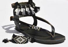 Sandals, Women Sandals, Leather Sandals, Black Sandals, Anklet Sandals & Boho Beaded Bracelet Set, Gladiator Sandal, Bohemian Shoes