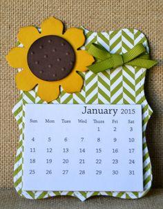 2015 Embellished Magnetic Calendar// Floral Magnetic Calendar//Coordinating Envelope//Fridge Calendar// Calendar