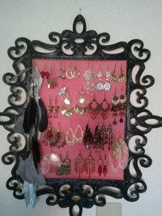 laser cut frame from michaels and hard needle point canvas hot glued to make a pretty - Wood Frames Michaels