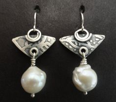 Sterling Silver And White Baroque Pearl by gailheftimetalsmith $82.