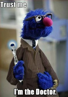 HOLY CRAP Okay while I haven't seen enough of Doctor Who to get crazy about it, I grew up with Grover. He was always one of my favorite Sesame Street monsters. He does look rather dashing...