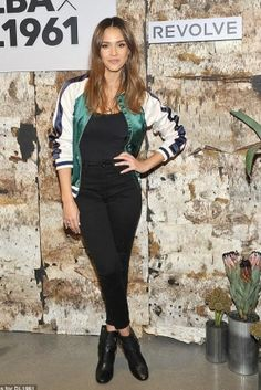 Jessica Alba wearing Lovers + Friends Bomber Jacket, DL1961 Jessica Alba No. 2 Trimtone Ankle Jeans, Wolford Jamaika Bodysuit and Gianvito Rossi Shetland Boots