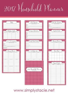 Get organized in 2017 with free printables! This 2017 Household Planner has what you need to get started on organizing your home.