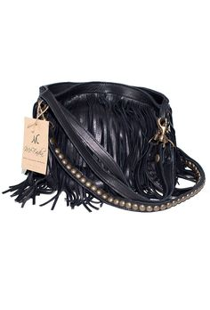 McFadin Large Fringe Bag in Black as Seen on Ashley Benson - Boutique To You