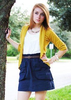 navy skirt + skinny belt + white ruffle tank + mustard cardigan Mustard Cardigan, Navy Skirt, Skinny Belt, Yellow Fashion, Closet Space, Free Time, Work Fashion, Family Pictures, I Dress