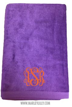 Monogrammed Purple Beach Towel