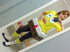 This is my cute and simple Spongebob costume It consists of a box cut and painted, a Walmart spongebob shirt, brown leggings, yellow socks (optional), and white socks. You could wear black tennis shoes or black slip on shoes' Halloween 2019, Halloween Kids, Happy Halloween, Halloween Party, Halloween Costumes, Spongebob Shirt, Spongebob Costume Diy, Spongebob Crafts, Cute Costumes
