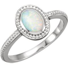 14K White Opal Beaded Cabochon Ring