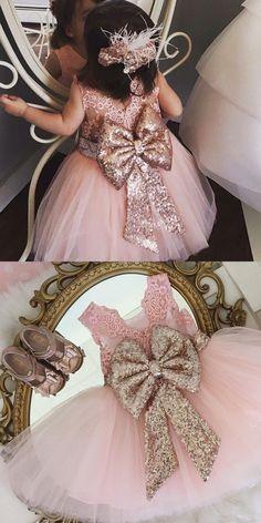 Pink Tulle Flower Girl Dresses,Tutu Flower Girl Dresses,Sequins Bowknot Flower Girl Dresses
