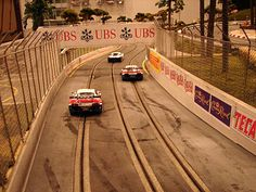 Slot cars race track.