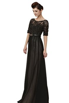 CharliesBridal Bateau Neck Floor Length Evening Dress with Half Sleeve